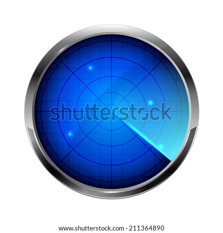 Blue radar icon isolated on white background, illustration. - stock vector