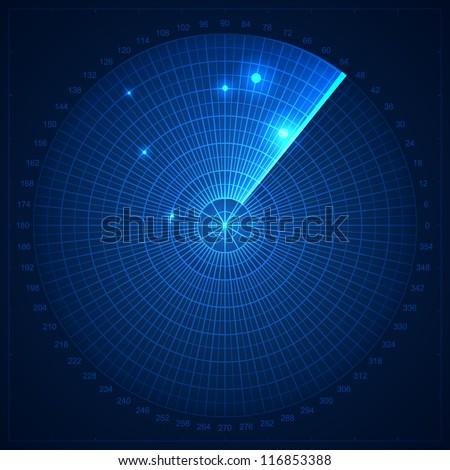 Blue radar screen. Vector illustration for your design. - stock vector