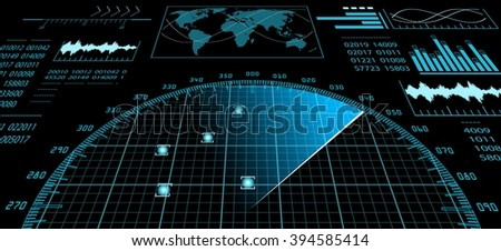 Blue radar screen with futuristic user interface HUD and digital world map. Infographic design elements. Vector illustration.