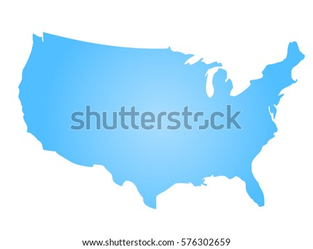 Blue Radial Gradient Silhouette Map Of United States Of America Aka Usa Vector Ilration