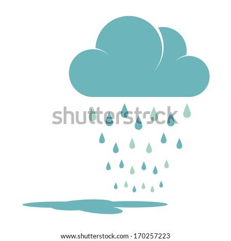 Blue Rain Cloud Vector Illustration