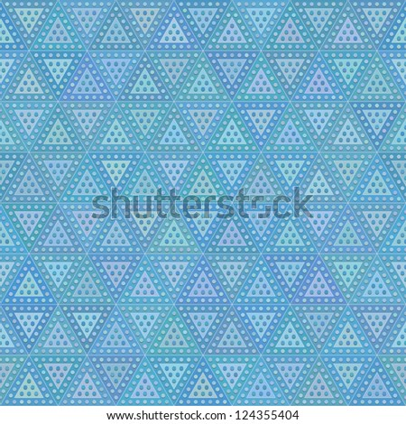 Blue rainbow mosaic tile seamless pattern - stock vector