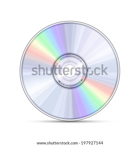 Blue-ray, DVD or CD disc. Video, music, computer software - stock vector