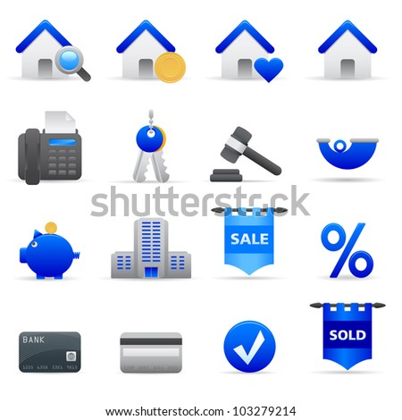 Blue Real State Icons Professional vector set of real state for your website, application, or presentation. The graphics can easily be edited colored individually and be scaled to any size - stock vector