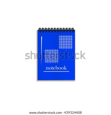 Blue realistic spiral notebook isolated on white background. - stock vector