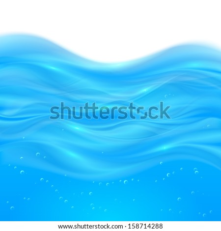 Blue realistic vector water background - stock vector