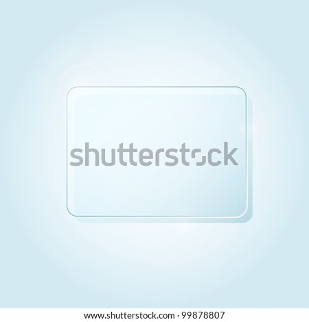 Blue Rectangle Piece of Glass Framework for Advertising with Place for Text. Abstract background. Vector illustration.