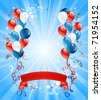 Blue, red and white balloons - stock vector