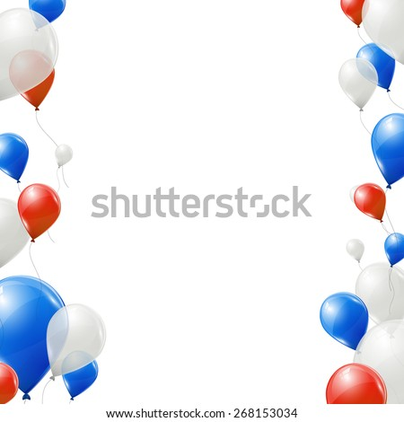 Blue, red and white balloons on white background - stock vector