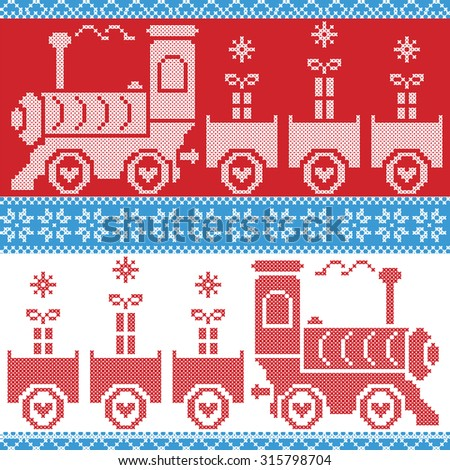 Blue, red and white Scandinavian Christmas Nordic Seamless Pattern with train gifts, stars, snowflakes, hearts, snow, in cross stitch pattern - stock vector