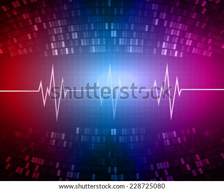 Blue red pink color pulse Light Abstract Technology pixels background for computer graphic website and internet, circuit board.  - stock vector