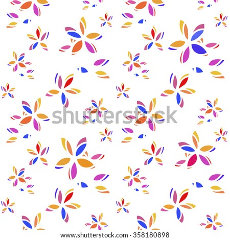 blue, red, yellow petals colorful flowers pattern - stock vector