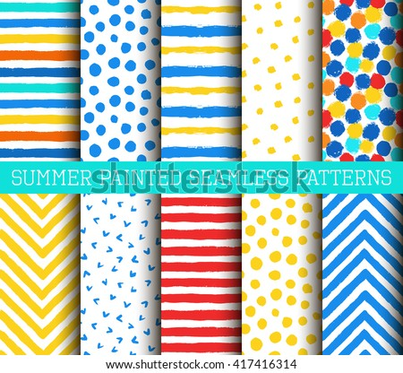 Blue red yellow white painted seamless patterns set. Distress texture grunge design.  Striped chevron and dot ornaments. Grunge paint backgrounds. Vector wallpaper or fabric print from brush strokes - stock vector