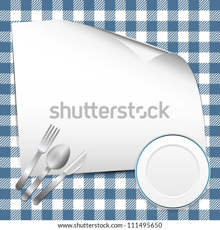 Blue restaurant background with place for text - stock vector