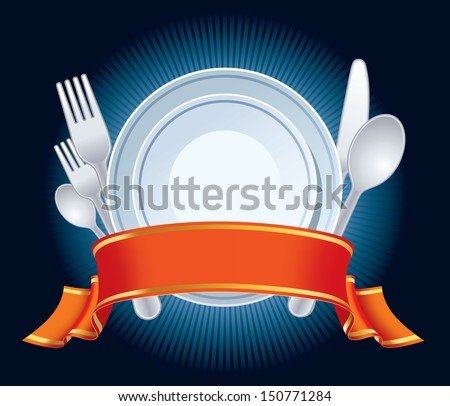 Blue restaurant sign with plate, fork, spoon, knife, and red banner.  - stock vector
