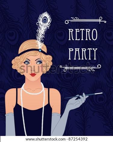 Blue retro party invitation design. Vector illustration. - stock vector