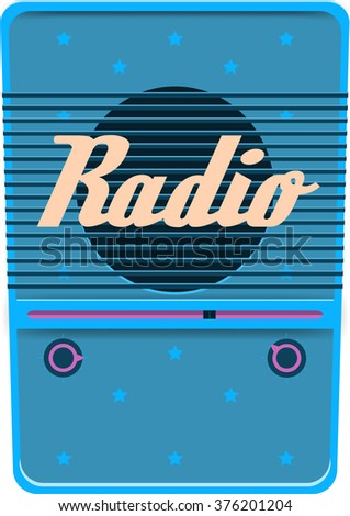 Blue retro radio with star pattern isolated vector illustration  - stock vector