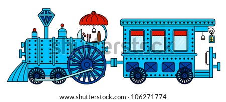 blue retro train isolated on white background - stock vector