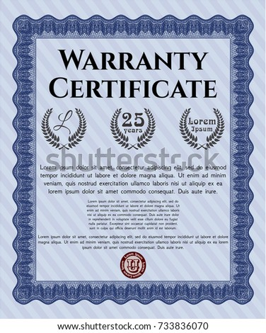100 money back satisfaction guarantee template stock vector blue retro vintage warranty certificate complex background cordial design customizable easy to yelopaper Choice Image