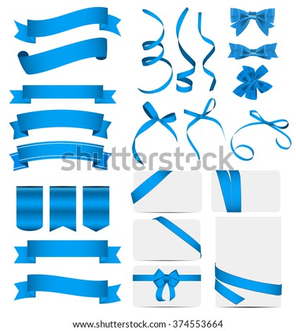 Blue Ribbon and Bow Set. Vector illustration EPS10 - stock vector