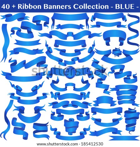 Blue Ribbon Banners Collection Isolated on white. Vector  - stock vector