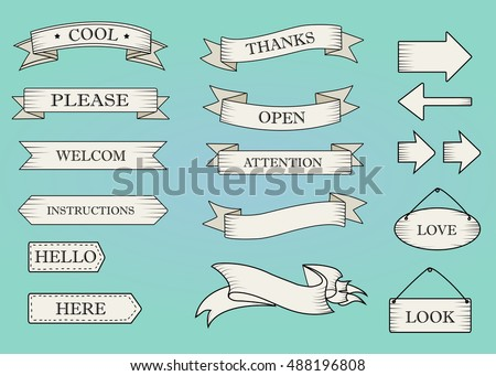 Blue ribbon banners set. Beautiful blank for decoration graphic. Old vintage style Flat design. Template collection labels Vector illustration