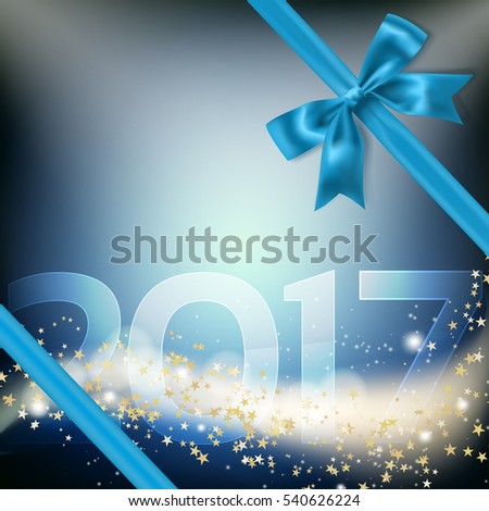 blue ribbon bow and 2017 number, glittering golden stars and particles, on dark blue background with light spots. vector