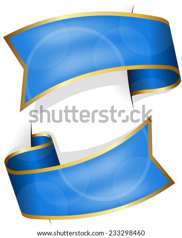 Blue ribbon collection isolated on white background - stock vector