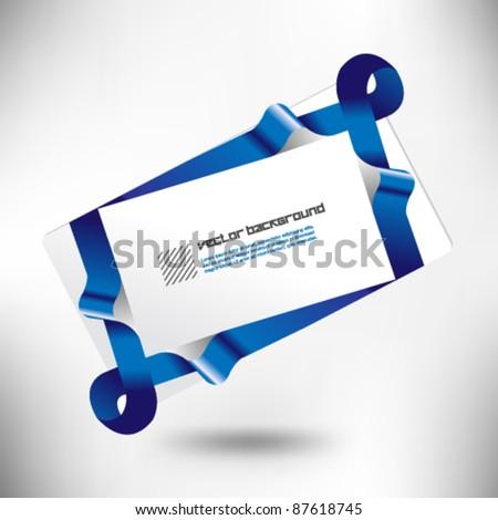 blue ribbon gift card design - stock vector