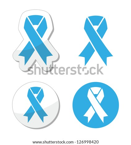 Blue ribbon - prosate cancer, childhood cancer aweresness symbol - stock vector