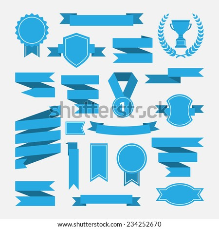 Blue ribbons,medal,award,cup set isolated on white background.Vector.Banner web - stock vector