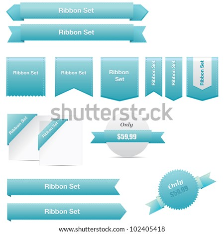 Blue ribbons set - stock vector