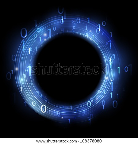 Blue ring with binary code - stock vector