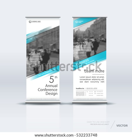 Blue roll up banner design brochure flyer vertical template, vector x-banner and street business flag-banner, cover presentation abstract geometric background vertical layout