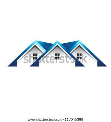 Blue Roof houses image. Vector icon - stock vector