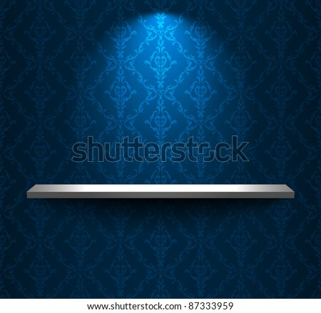 Blue room with shelf - stock vector