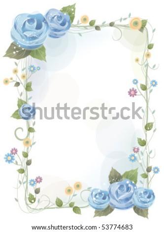 blue rose flower frame - stock vector
