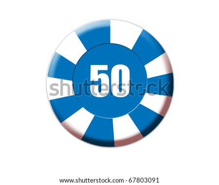 Blue roulette chip isolated on white, vector illustration - stock vector