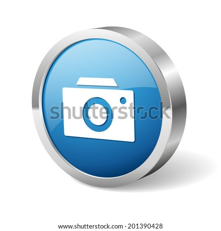 Blue round camera button with metallic border on white background - stock vector