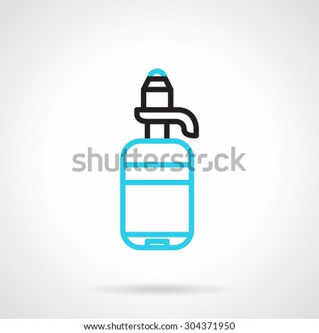 Blue round flat design vector icon with white silhouette plastic bottle with pump on gray background. Element for the logo - stock vector