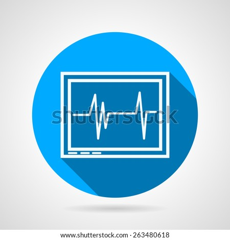 Blue round flat vector icon with white contour cardiogram monitor on gray background. Long shadow design - stock vector