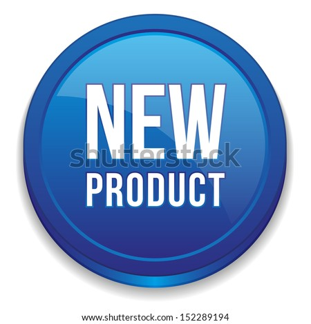 Blue round new product button - stock vector