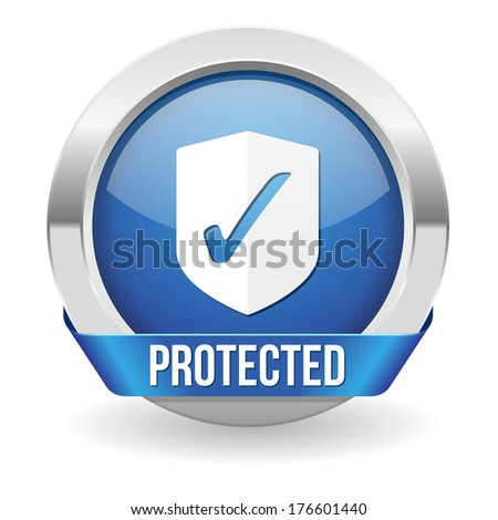 Blue round protected button with metallic border - stock vector