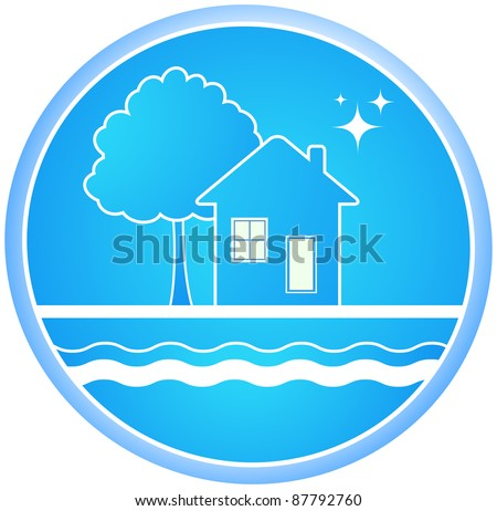 blue round sign of clean environment with house and tree - stock vector