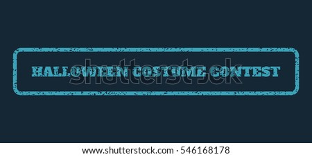 Blue rubber seal stamp with Halloween Costume Contest text. Vector tag inside rounded rectangular banner. Grunge design and scratched texture for watermark labels.