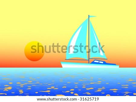 Blue sailboat - stock vector