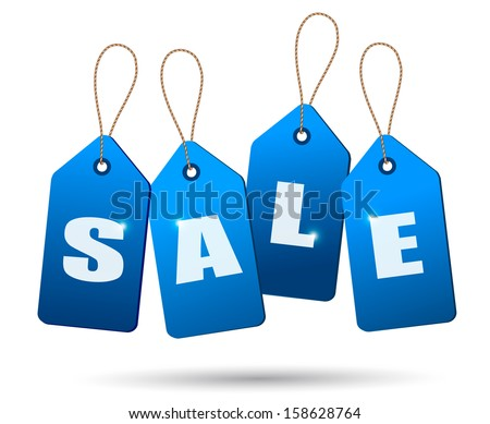 Blue sale tags. Concept of discount shopping. Vector. - stock vector