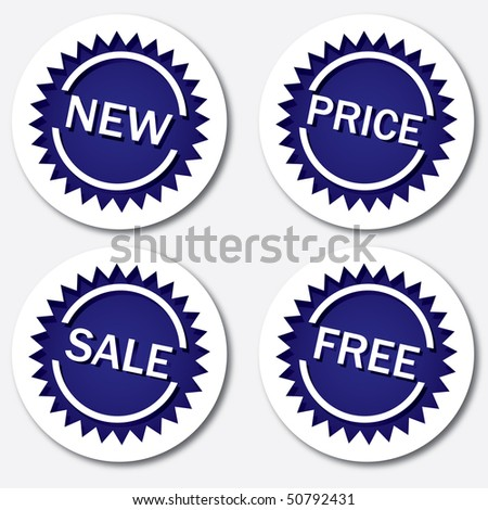 Blue sale tags, vector illustration