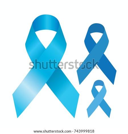 Blue Satin Ribbon Prostate Cancer Awareness Stock Vector 743999818