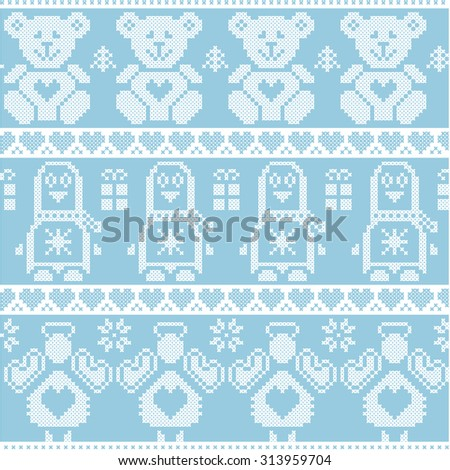 Blue Scandinavian vintage Christmas  Nordic seamless pattern with penguin, angel, teddy bear, Xmas gifts, hearts, decorative ornaments, Christmas trees in red cross stitch   - stock vector